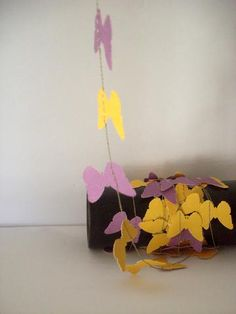 Paper garland-Butterfly purple yellow-home decor- kids room decor - nursery decoration-party decor