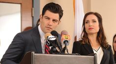 """Max Greenfield and Zoe Lister Jones in """"New Girl"""" on Fox."""