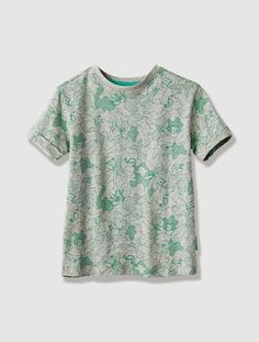 Boy's Printed Short-Sleeved T-Shirt Green print