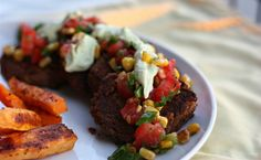 Black bean patties from Elly says Opa! Use vegan sour cream, and this is vegan :)
