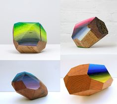 Artist Victoria Wagner works with large pieces of reclaimed wood sliced into geometric forms and painted to resemble large gemstones. Titled Woodrocks, the cut facets of each piece are covered with delicate oil paint gradients that evoke mostly natural tones found in sunsets, water, or outdoor l