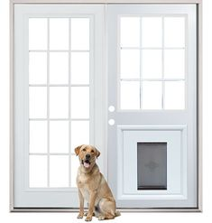 Patio French Back Doors with Pre-Installed Pet Doggy Door - maybe change out the patio doors for french doors Pet Door, Doggy Doors, Window Dog Door, Patio Dog Door, Diy Doggie Door, Patio Wall, Patio Interior, Luxury Interior, Back Doors