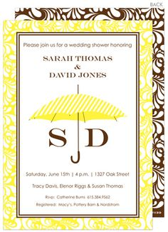 Yellow Umbrella Bridal Shower Invitations