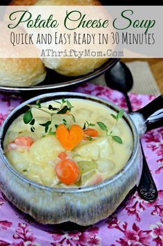Potato and Cheese Soup, Recipe for Potato Cheese Soup, Valentines Day Recipe Idea,Quick and easy ready in 30 minutes