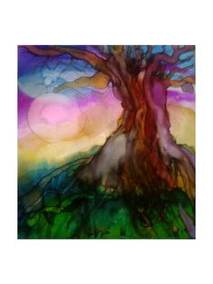 """Tree of Life"" , alcohol inks on canvas  ooh I like this one too!.. the colors and that tree! I love big ole trees.."