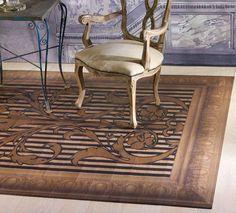 Idee & Parquet, Linea Tappeti: Tappeto DAMASCO Tappeto formato da tessere in legno di rovere decorato con motivo damascato e cimasa stencil. Le tessere sono fissate su adeguato supporto in tessuto che rende il tappeto arrotolabile. - Rug made of wood segments decorated by hand with damask pattern and stencil coping. The segments are fixed on a fabric support, which makes it possible to roll up the rug. #ideeparquet #tappeti #parquet #rug