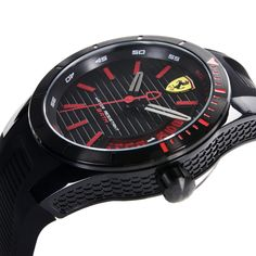 Matte black look and sporty design inspired by the racing world in every detail, like the date sub-dial, which evokes the single-seater gear indicator. Red Watches, Watches For Men, Ferrari Watch, Quartz Watch, Matte Black, Racing, Sporty, Detail, Inspired