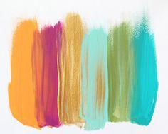 orange, pink, gold, light turquise, green, turquise