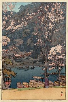 Hiroshi Yoshida (吉田 博 Yoshida Hiroshi, September 1876 - April was a Japanese painter and woodblock print maker. Hiroshi Yoshida, Art Occidental, Japanese Woodcut, Art Asiatique, Japanese Illustration, Botanical Illustration, Art Japonais, Landscape Prints, Japanese Painting