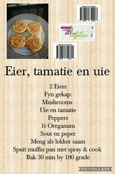 Eier, tamatie en uie Gluten Free Recipes, Diet Recipes, Cooking Recipes, Healthy Recipes, 28 Dae Dieet, Crispy Baked Chicken, South African Recipes, Clean Eating Recipes, Health And Nutrition