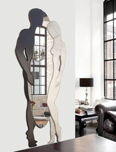 P4648 - Adamo ed Eva Black & White Cm 73x187 Specchiera sagomata, laccata caffè, decorata a mano in foglia argento. #specchio #specchiera #p4648 #black #White #adamo #eva #pintdecor