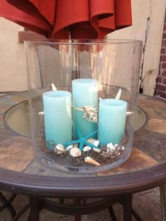 Majestic hurricaine with blue LED all ready for summer.  Www.partylite.biz/marybacon