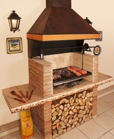 Outdoor Bbq Kitchen, Outdoor Oven, Outdoor Kitchen Design, Outdoor Cooking, Home Decor Kitchen, Patio Design, Patio Grill, Backyard Patio, Asado Grill