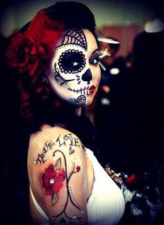 Halloween inspiration - female half skull makeup. halloween costumes