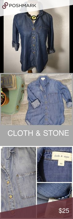 "Anthropologie Cloth & Stone Chambray button up. Anthropologie Cloth & Stone Chambray Denim button up. Pre-owned. Long sleeved, one pocket front detail and medium denim wash. #04790 Measurements: Size XS 19 "" across bust. 15.5"" from underarm to bottom shirt tail.                    Bundle in my closet and save. I ship same day or next day almost always. No paypals or trades. Suggested User and top Rated Seller! Anthropologie Tops Button Down Shirts"