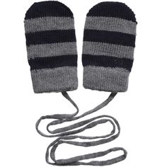 Baby Boys Grey Striped Knitted Wool Mittens , Dolce & Gabbana, Boy