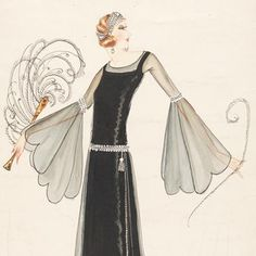 Illustration of his own design, by Norman Hartnell London, Black cocktail dress with chiffon overlay, beaded belt, and embroidered headband. 20s Fashion, Art Deco Fashion, Fashion History, Fashion Prints, Paris Fashion, Love Fashion, Vintage Fashion, Fashion Show, Fashion Design