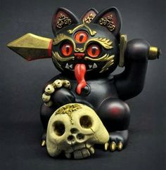 Misfortune CAT Andrew Bell Playge With Skull Vinyl Figure Weird Toys, Cool Toys, Awesome Toys, 3d Figures, Vinyl Figures, Vinyl Toys, Vinyl Art, Occult Art, Maneki Neko