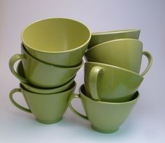Vintage Avocado Green Melamine Coffee Cups Set by LifeOnArborLane, $9.00
