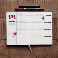 Bullet journal weekly layout, flower drawings, hand lettering. | @contracrastination