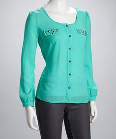 Take a look at this Teal Studded Button-Up by Blu Pepper on #zulily today!