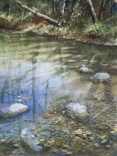 赤坂孝史「久良岐公園」Akasaka Takashi Watercolor Mixing, Watercolor Water, Watercolor Landscape Paintings, Watercolour Painting, Spring Painting, Anime Scenery, Fantasy Landscape, Whimsical Art, Art Pictures