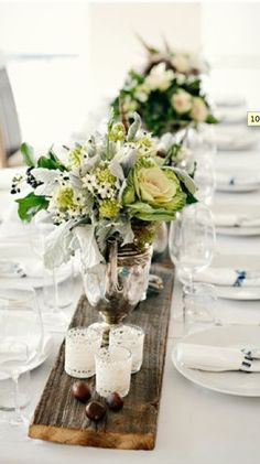 plank centrepiece love this idea for the wedding!