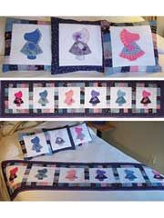 bed runner, kid beds, pillow patterns, quilt patterns, sunbonnet sue, applique patterns, sue quilt, sue bed