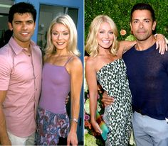 Their love stands the test of time! From Rita Wilson and Tom Hanks to Victoria and David Beckham, see which celebrity couples' partnerships have endured throughout the years. Kelly Ripa Diet, Kelly Ripa Workout, Kelly Ripa Hair, Celebrity Couples, Celebrity News, Lola Consuelos, Kelly Ripa Mark Consuelos, Short Blonde Bobs, Victoria And David