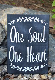 Wedding Sign Chalkboard Fall Wedding Decor Chalkboard Wood Signage Rustic Wedding Gift Ideas Soulmates One Soul One Heart Love Quote Shower