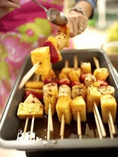 grilled fruit kabobs with cinnamon sugar