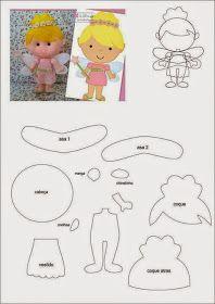 Felt Fairy - Pattern only Felt Doll Patterns, Stuffed Toys Patterns, Fabric Dolls, Paper Dolls, Felt Templates, Felt Fairy, Felt Toys, Felt Ornaments, Felt Christmas