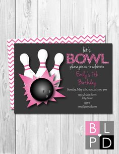 Bowling Birthday Party Invitation  Pink and by BeccaLeePaperie
