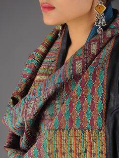 Buy Blue Black Multicolor Tussar Silk Kantha Embroidered Reversible Stole Online at Jaypore.com