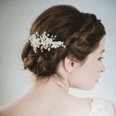 Ivory flower hair chignon comb | Pale blush headpiece | Halo and Co