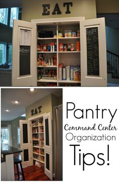 Pantry Command Center Organization tips!  Great ideas to get organized!