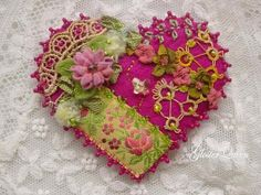 Be my Valentine crazy quilt heart pin / brooch