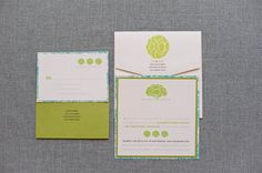 Simple Floral Wedding Invitation Suite  Lime Green  by LamaWorks