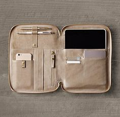 RH's Italian Leather Multi-Tablet Case:FREE SHIPPING Thoughtfully designed down to the last detail, our tablet sleeve is as luxe as it is practical. Handcrafted of premium, aniline-dyed hides, it protects larger readers and houses pockets and slots for essential accessories in a slim profile.