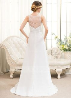 A-Line/Princess V-neck Sweep Train Chiffon Wedding Dress With Beading Sequins Cascading Ruffles (002054621) - JJsHouse