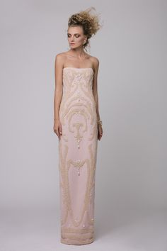 """Azzi & Osta Couture Fall/Winter 16/17   """"Promises Of Dawn""""    Pink, Dress, Strapless, Crepe,  Hand Embroidery, White Pearls"""