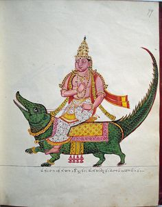 Opaque watercolour painting of Varuna, guardian of the west, riding an elegantly caparisoned makara (mythical creature), with detailed scaly skin. The god holds the reins of the makara in his left hand and carries the pasha (noose), in his right hand.