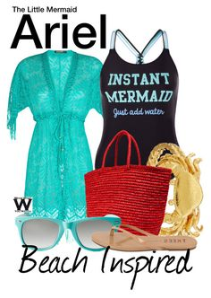 """""""Beach Inspired - The Little Mermaid"""" by wearwhatyouwatch ❤ liked on Polyvore featuring Despi, New Look, Alex Monroe, Sensi Studio, Red Camel, Tkees, disney, wearwhatyouwatch, film and beachinspired"""