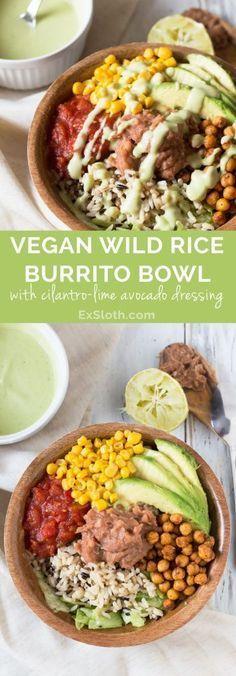 Vegan Wild Rice Burrito Bowl with Cilantro-Lime Avocado Dressing via @GiselleR | Healthy Living Blogger | ExSloth.com