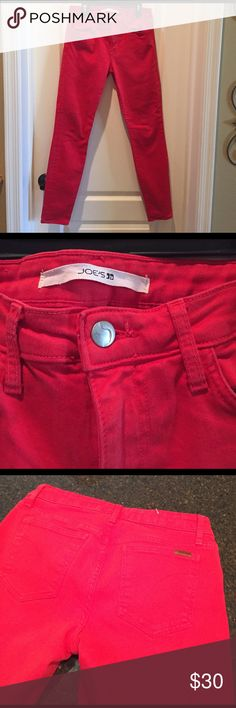 """Joe's Jeans Skinny-Red Awesome red color Joe's skinnys! In perfect condition, no damage at all! Has some stretch. Inseam is 29"""", waist-28"""" Joe's Jeans Jeans Skinny"""