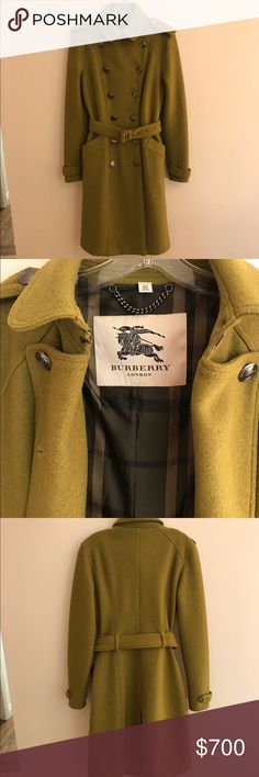 "Authentic Burberry wool Trench Coat NWOT I bought this 5 years ago from Nordstrom because I wanted a beautiful  ""winter coat"" but I live in CA so have not needed it. It is size 8 (UK 10 or EU 42) and measures 40"" long and 19"" between underarms. It has no flaws, spots, smoke - it is impeccable. It is fully lined with green/gray Nova Check pattern. Military style with belt, very flattering slim lines and can cinch the waist if you like. I wore it twice. I have extra buttons that came with it…"