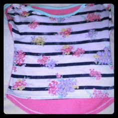 Little girls hi lo shirt size S  7/8 Cute Arizona little girls size S  7/8  hi low shirt strips and flowers on front sold pink back green scrunch on sleves Arizona Tops Crop Tops
