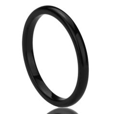 Unisex Women's 2MM Titanium Comfort Fit Wedding Band Ring Black High Polished Classy Domed Ring (5 to 11) - Size: 8