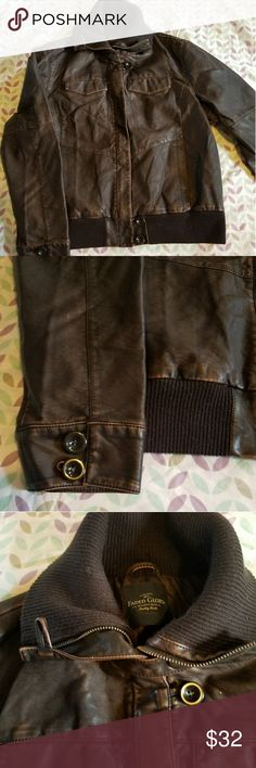 Faux Leather Bomber Jacket Size L NWOT A beautiful and supple chocolate brown bomber jacket, so soft!  Potentially unisex.  Never been worn.  NWOT.  Smoke free, pet friendly home <3 Faded Glory Jackets & Coats