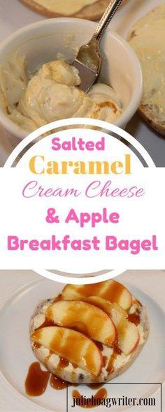 Salted Caramel Cream Cheese and Apple Breakfast Bagel. Open faced breakfast sandwich ideas | breakfast ideas | breakfast bagel | breakfast bage sandwich | breakfasat bagel ideas | easy breakfast ideas | easy breakfast recipes | easy breakfast ideas for ki